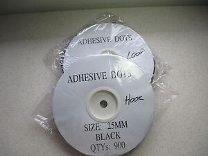 BLACK  25mm x 900 Pair DOTS HOOK and LOOP Fasteners