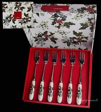 PORTMEIRION THE HOLLY AND THE IVY BOX OF SIX 6  CAKE PASTRY FORKS