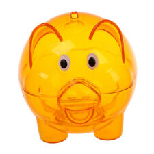 Plastic Piggy Bank Coin Money Cash Saver Savings Safe Box Clear Orange C3I3