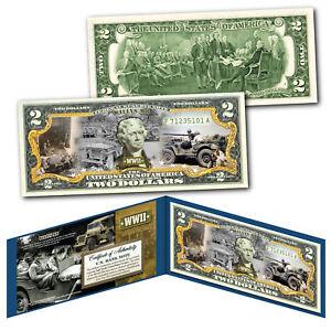 WILLYS MB FORD GPW JEEP Military Truck WWII World War II Genuine U.S. $2 Bill