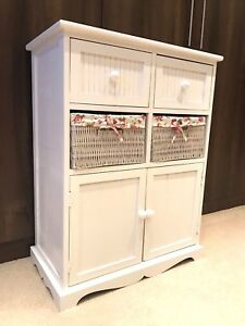 White Storage Unit 2 Cupboard 2 Wicker Drawer Basket Flower Pink Girls Furniture