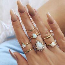 7 Pcs/Set Vintage Imitation Opal Zircon Geometric Gold Womens Jewelry Ring SJ013
