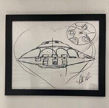 "Framed Bob Lazar Autographed ""Sport Model"" UFO Sketch *EXCLUSIVE* Area 51 / S4"