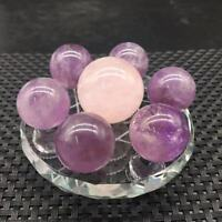 "Natural 7 Star Amethyst&Rose Quartz Crystal Sphere Ball Healing +3.1""Glass Stand"