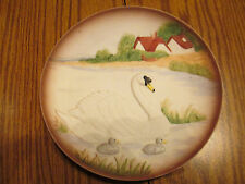 Collectible Display Plate Mother Swan w/Babies - Raised Images - Porcelain #1429