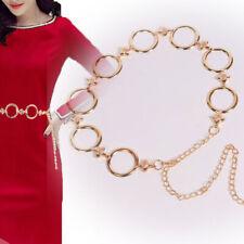 Fashion Women Gold Metal Waist Chain Belt Decorative Circle Dress Chain Belts US