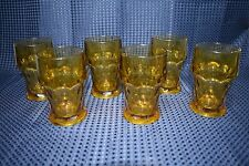 Vintage Honeycomb Pattern Georgian Style Amber Glass Tumbler  Lot of 6