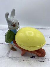 Vintage Ceramic Studio Ugly Mad Bunny Pushing Wheel Barrow w/ Covered Egg