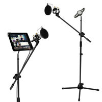 Microphone and Tablet Tripod Boom Stand Kit 2-in-1 Adjustable Tablet Holder