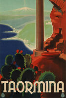 Taormina Italy Cactus Retro Travel Poster 12x18 inch
