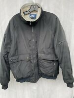RARE 80's Vintage NIKE Blue Tag Black Nylon Bomber Jacket Size Men's L