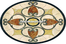 Black Marble Oval Inlay Art Dining Table Top Creative Bedroom Design Decor H4828
