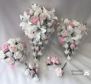 Wedding Flowers Ivory Rose Star lily Bouquet, Bride, Bridesmaid Flower-Girl pink
