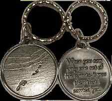 Foot Prints In The Sand Keychain Footprints Key Chain Tag Medallion Coin Pewter