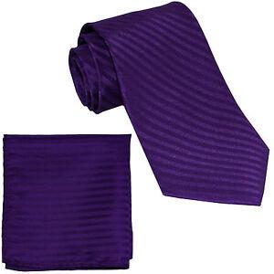 New Polyester Woven Men's Neck Tie necktie & hankie set Stripes purple wedding