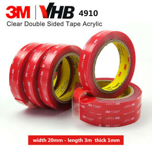 3M VHB 4910 DOUBLE SIDED CLEAR Self Adhesive Sticky TAPE Acrylic Foam 20mm  x 3m