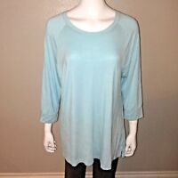 Honeydew Knit Top Size XL Womens Blue Stretch 3/4 Sleeve Tee Lounge