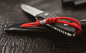 550 Paracord Knife Lanyard Viper & Diamond runes, fire / red