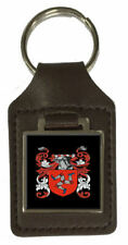 Dewey Family Crest Surname Coat Of Arms Brown Leather Keyring Engraved