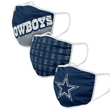 Dallas Cowboys NFL Football Gametime Foco Pack of 3 Adult Face Covering Mask