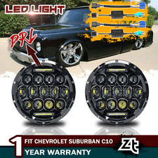 "For 1973 1974 1975 Chevrolet Suburban C10 Headlights 7"" Round LED Headlamps Pair"