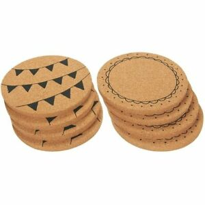 Round Cork Coasters for Drinks, 2 Designs (8 Pack)