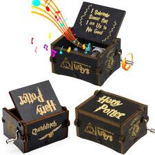 Vintage Handmade Engraved Black Wooden Harry Potter Music Box Xmas Craft Gift