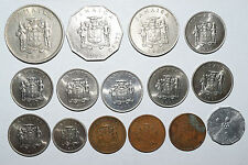 JAMAICA: 15 old coins. 50 Cents 1975, 25 1973, 20 1969. 10 x7 since 1977, 5 & 1.
