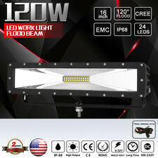 NEW 16INCH 120W Cree LED Work Light Black 120 DEGREE FLOOD HYPER FLOOD BEAM HID