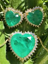 NATURAL GLOWING EXOTIC NEON COLOMBIAN EMERALD JEWELRY SET NECKLACE & EARRINGS