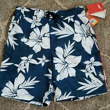 Speedo Men's Swim Trunks, New with Tags! (Navy with White Flowers, Size Medium)