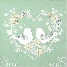 4x Paper Napkins -Turtle Doves- for Party, Decoupage Craft