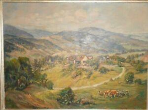 Großes Ölbild 1956 Heinrich Bühler Maler Karlsruhe Gemälde Landschaft Kinzigtal