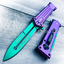 "8"" JOKER SPRING ASSISTED STILETTO FOLDING POCKET KNIFE Blade Batman Switch"