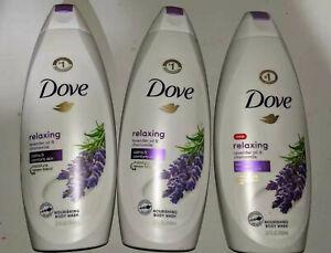 3 bottles Dove Relaxing Body Wash Lavender Oil & Chamomile (22 Fl OZ) Bath Soap