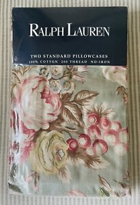 2 NEW Rare RALPH LAUREN Charlotte Floral Standard Pillowcases French Country