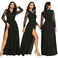 Women Lace Long Sleeve Spli Gown Formal Evening Party Cocktail Long Dress Sexy