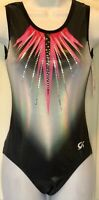 DREAMLIGHT GK TANK LADIES MEDIUM HOLOTEK BLACK N/S SEQUINZ GYMNASTIC LEOTARD AM