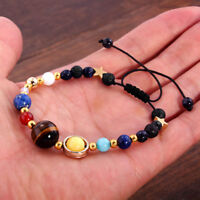 Universe Solar System Galaxy Eight Planet Stone Beads Braided Bracelet Gifts