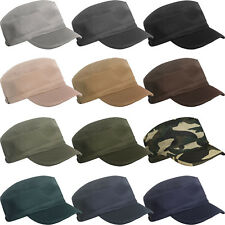 MENS LADIES WOMENS GIRLS MILITARY ARMY STYLE CAP PLAIN COTTON CADET COMBAT  HAT 5e68c190d3