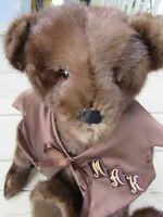 """VINTAGE TEDDY BEAR 16"""" BROWN BLACK REAL FUR MAK INITIALS OOAK ARTIST MINK ? COAT"""