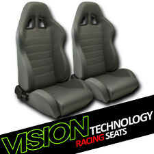 JDM SP Style Gray PVC Leather Reclinable Racing Bucket Seats w/Sliders Pair V27