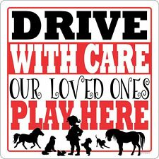 DRIVE WITH CARE LRG OUTDOOR GATE SIGN CHILDREN PETS DOGS CATS HORSE SAFETY CUTE