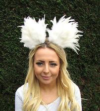 Ivory Cream Feather Cat Animal Ears Headband Hair Band Headpiece Festival 2027