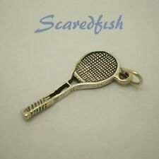 TENNIS RACKET 925 Sterling Silver Charm Pendan with jump ring