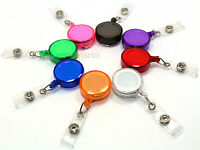 5 BADGE REELS RETRACTABLE RECOIL YOYO SKI PASS ID CARD HOLDER KEY CHAIN