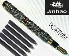 jinhao 2 dragon play pearl fountain pen BLACK free 5 cartridges BLACK  ink