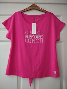 NWT RED HERRING SIZE MEDIUM 12 14 16 PINK ACTIVE WEAR T-SHIRT TOP SLOUCHY KNOT