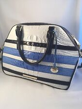 NWT Brahmin Women's Hudson Regatta Vineyard Navy/Blue/White Handbag