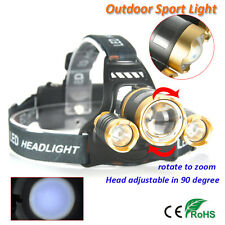 BORUiT 30000LM 3X XML T6 R2 LED Zoomable 4-Mode Headlamp Torch Head Lamp Light
